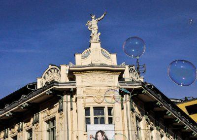 Urbanc building and children`s bubbles